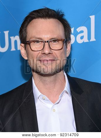 LOS ANGELES - APR 02:  Christian Slater arrives to the NBCUniversal's Summer Press Day 2015  on April 02, 2015 in Hollywood, CA
