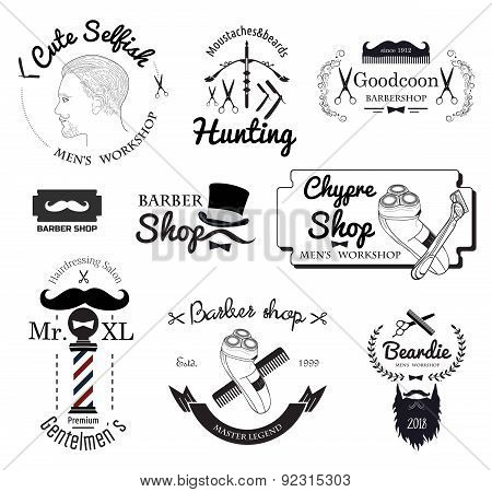 Set of retro barber haircut and logos. Vector Men's haircuts instruments Barber shop logo, Badges, labels and design elements. poster
