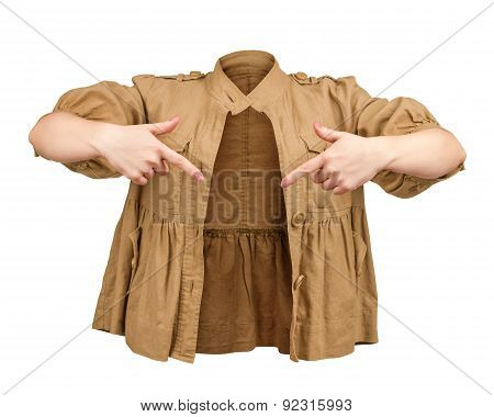 Blank Beige Jacket On An Isolated White Background. ?oncept Of Inner Emptiness