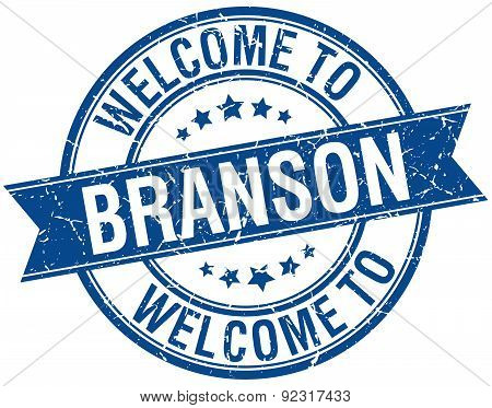 Welcome To Branson Blue Round Ribbon Stamp