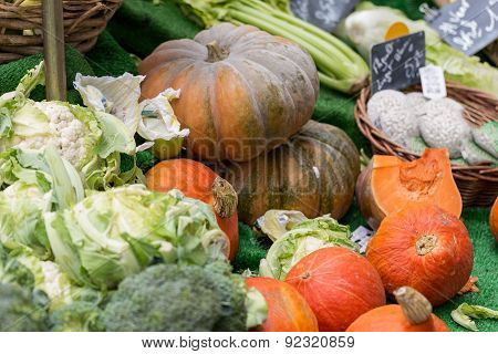 Fresh Pumpkins for sale in a greengrocery