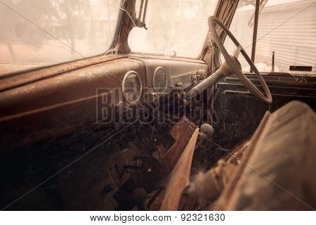Old rusty car interior