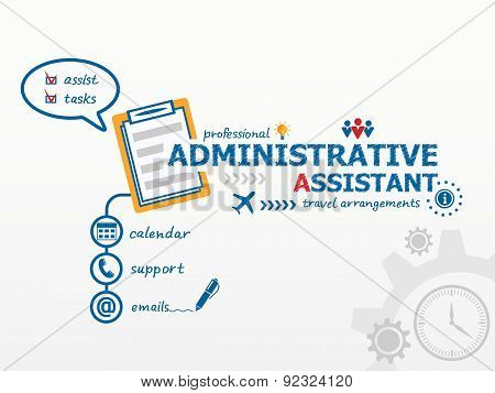 Administrative Assistant Business Concept And Notebook