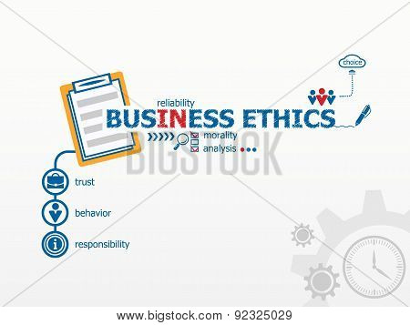Business Ethics concept and notebook. Hand writing Business Ethics with blue marker. poster
