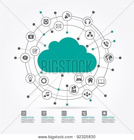 Cloud surrounded by abstract computer network with integrated circles and icons for digital,  network, internet, connect, social media, communicate Infographic design background