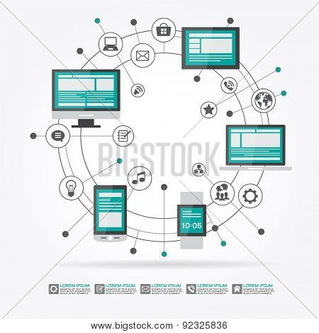 Watches, computer, mobile phone, laptop surrounded by abstract computer network with integrated circles and icons for digital,  network, internet, connect, social media, communicate