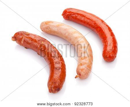 Various grilled sausages. Isolated on white background