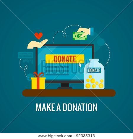 Donations online with laptop icon