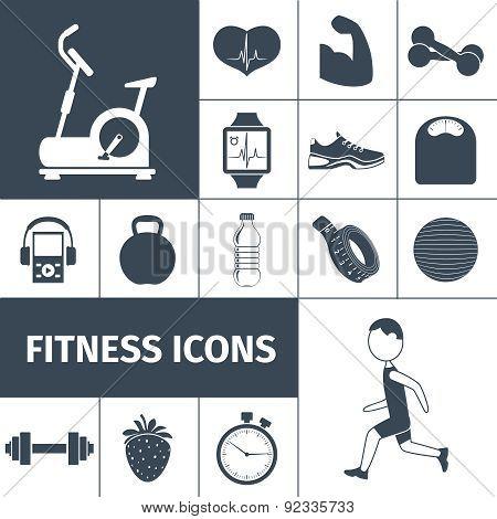 Fitness icons black set
