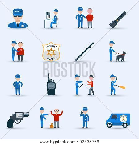 Security guard service icons set