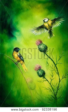 Pair Of Songbirds Flattering Above A Distel Flower, On An Emerald Green Background