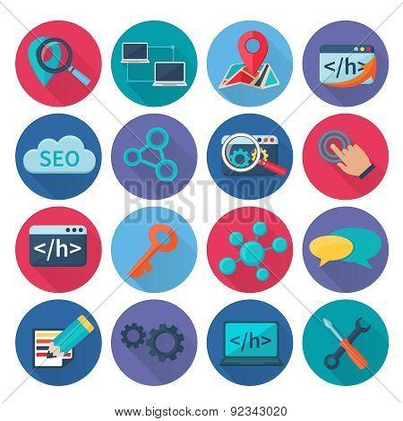 Seo Marketing Icons Flat