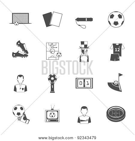 Soccer icons set black