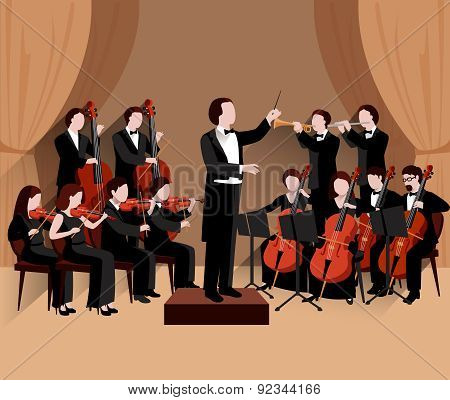 Symphonic orchestra with conductor violins chello and trumpet musicians flat vector illustration poster