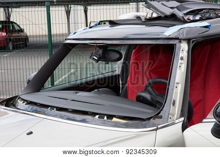 Disassembling Windshield Of A Nice  And Design Car