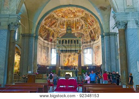 Interior Of Basilica Of Saint Peter In Chains In Rome, Italy.