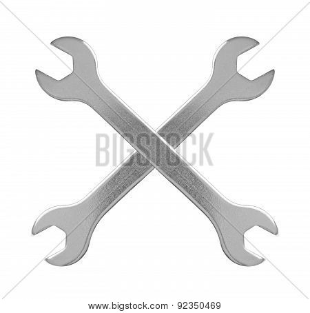 Two Hand Wrench Tools On A White Background