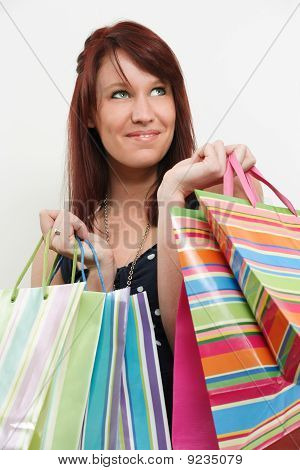 Redhead With Shopping Bags