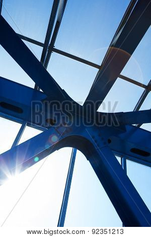 Steel Beams With Solar Flare. Fragment Modern Construction.