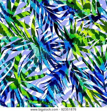 Seamlesspattern With Palms And Zebra Stripes