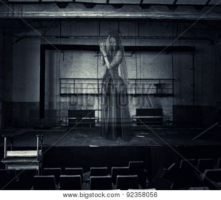 Ghost Of Actress On Stage Of Old Theater