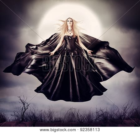 Beautiful Woman - Flying Halloween Witch