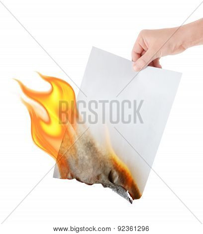 Burning Paper In Hand On White Background