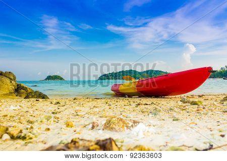 Red Yellow Kayaks On The Tropical Beach, Lipe Island