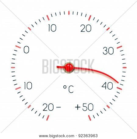 Symbol Hot Weather Or Global Warming. Arrow Of The Thermometer Melt And Bend From High Temperature