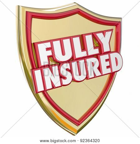Fully Insured words on a gold shield with 3d letters to illustrate 100 percent coverage with a good insurance policy