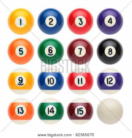 Billiard balls on a white background