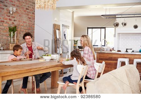 Family mealtime at home