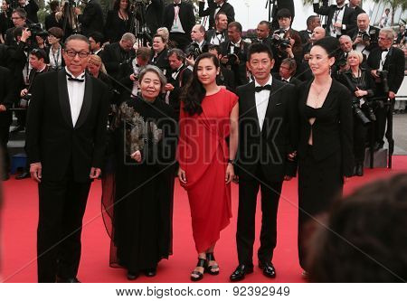 director Naomi Kawase and her team attend the 'Two Days, One Night' (Deux Jours, Une Nuit) premiere during the 67th Annual Cannes Film Festival on May 20, 2014 in Cannes, France