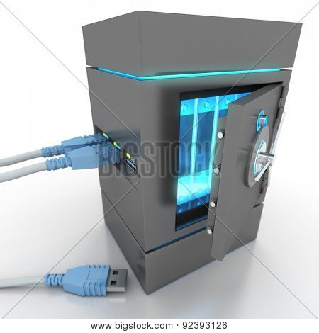 3D rendering of a usb cable connected to a strongbox containing electronic files
