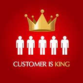 customer is king consumer user queen concept service excellent poster