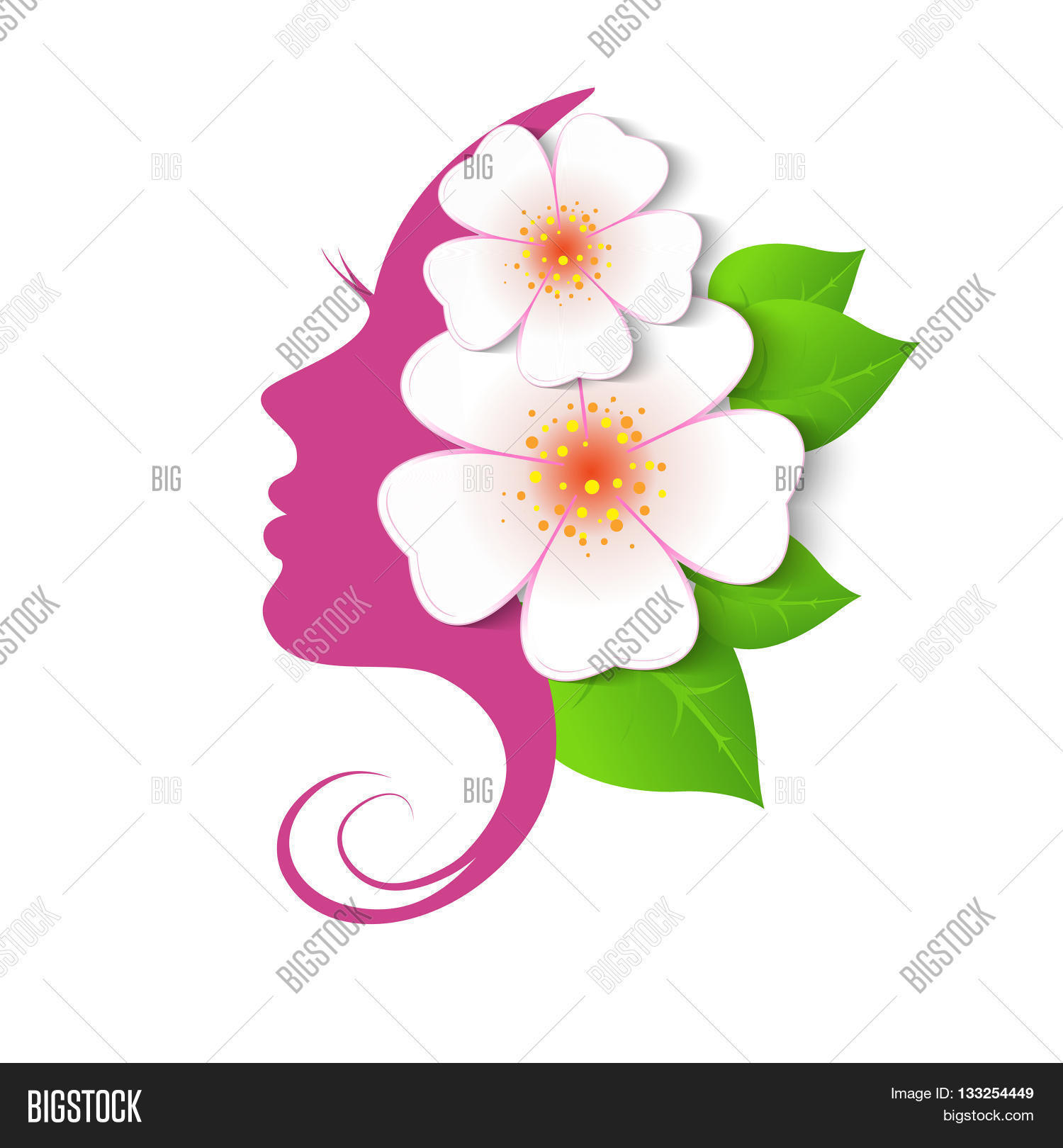 Female face circle vector photo free trial bigstock woman with flowers in hair vector beauty floral logo izmirmasajfo