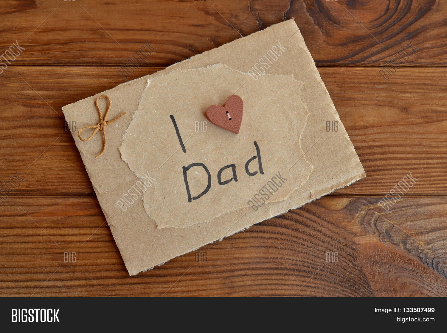 Homemade greeting card image photo free trial bigstock homemade greeting card on wooden table card with text i love dad card is m4hsunfo