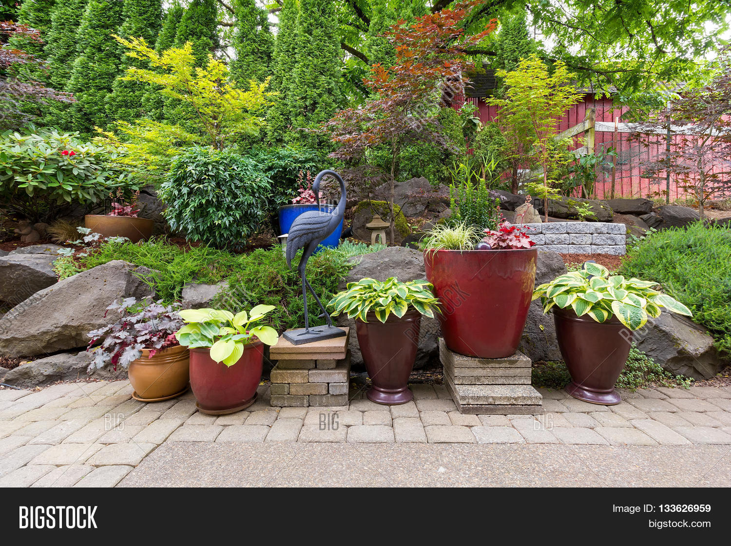 House Garden Backyard Hardscape Image & Photo | Bigstock