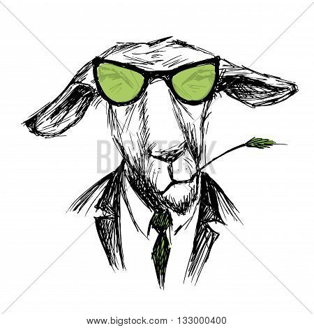 Hand Drawn Fashion Portrait of donkey Hipster isolated on white background vector