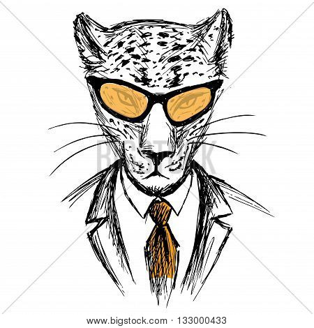 Hand Drawn Fashion Portrait of leopard Hipster isolated on white background vector