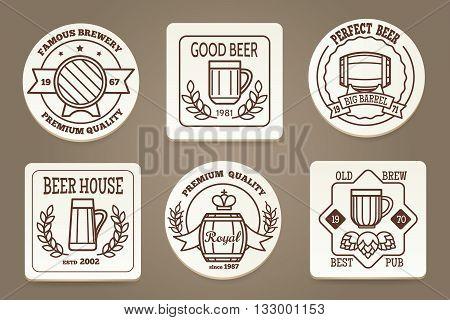 Beer coaster or drink coaster. Beverage coasters with beer emblems vector illustration