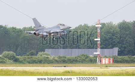 Leeuwarden, The Netherlands -may 26: F-16 Fighter During A Comparisontest With A F-35 In Europe On M