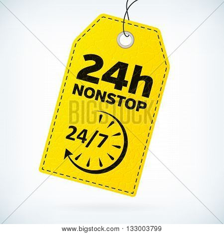 Yellow leather business vector label 24h nonstop. Business detailed vector label with opening hour text. Isolated from background. Editable business label vith 24/7 icon.