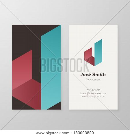 Business card isometric letter J vector template. Vector business card design as sign letter J. Letter J business card template. Business card visual design letter J.