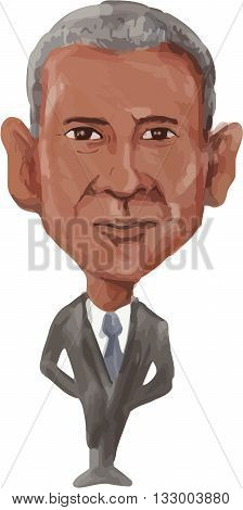 JUN 6, 2016:  Watercolor caricature illustration of the 44th American President of the United States of America Barack Obama viewed from front done in cartoon style.