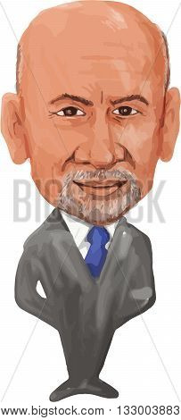 JUN 6, 2016:  Water color caricature illustration of the Prime Minister of Afghanistan Ashraf Ghani Ahmadzai facing front done in cartoon style.