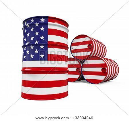 USA Flag Oil Barrel isolated on white background. 3D render
