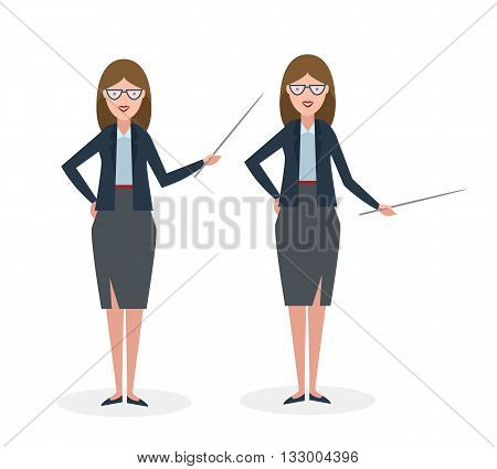 Businesswoman with pointer on white background. Businesswoman standing isolated. Presenter and salesman. Smiling positive woman.