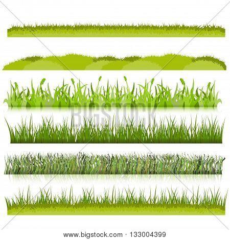 ravdon Green grass borders set vector illustration