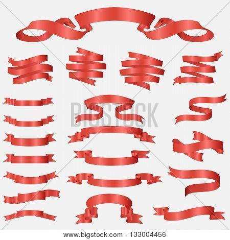 red glossy ribbon vector banners set. Ribbon label red glossy, ribbon curled tag, waving ribbon red glossy illustration
